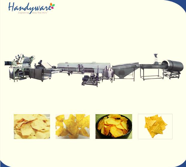 六角薯片三角玉米片油炸生产线